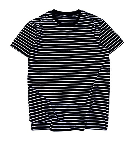 - Zengjo Essential Stripes T-Shirts Comfort Short-Sleeve Crew-Neck Striped Tee Top (S, Black & White Stripes)