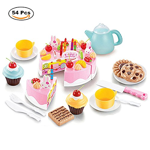 Dr. Queen Play Plastic Food Set Kids Gift Birthday Cake with Cutting Knife Tea Pot and Cups Baby Children Kids Pretend Play Toys 54 Pcs Pink (Plastic Set Tea Toy)