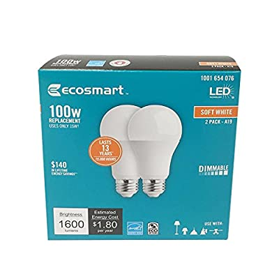 EcoSmart 100W Equivalent Soft White A19 Dimmable LED Light Bulb (2-Pack)