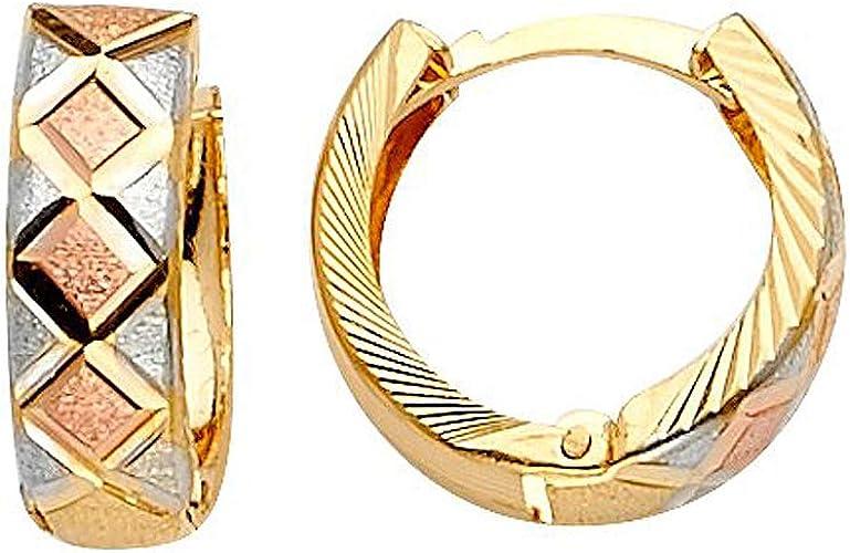 14k Tri-color Gold Huggies Hanging Earrings, 50mm x 5mm