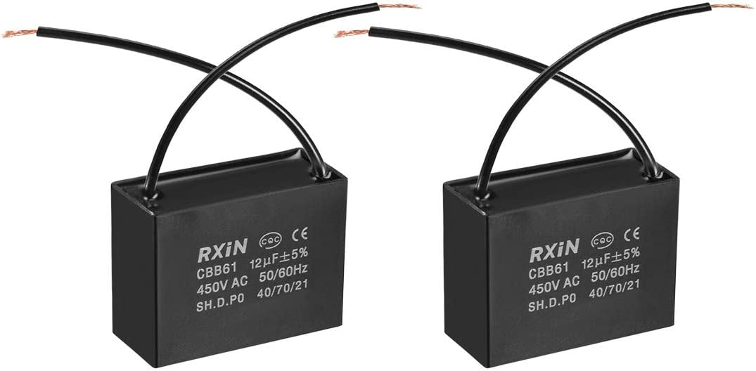 uxcell CBB61 Run Capacitor 450V AC 12uF 2 Wires Metallized Polypropylene Film Capacitors for Ceiling Fan 2pcs