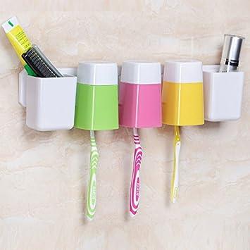 Potente Seamless ventosas soportes para cepillo de dientes accesorios de baño montado en la pared de dientes, vaso para cepillos de dientes cepillo Copa ...
