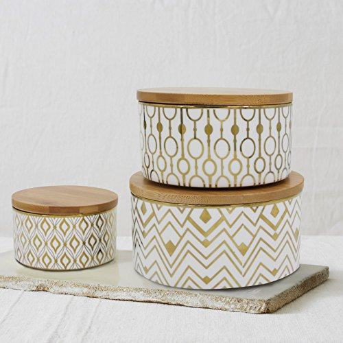 Storage Canister Set 3 Decorative Container Jars, Airtight Bamboo Lids, Gold Plated Porcelain for Tea, Coffee, Sugar, Christmas Gift Decorative Canister