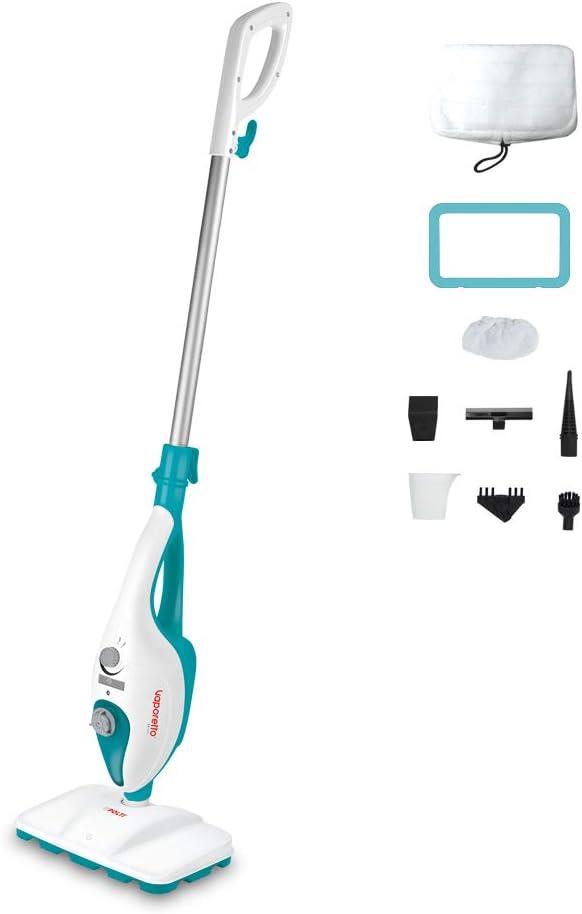 Polti Vaporetto SV205 Escoba a Vapor Doble Función con Limpiador Portátil Integrado, 1300 W, 18/10 Steel, Blanco/Azul