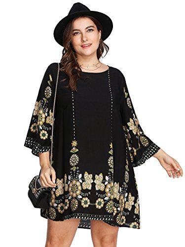 Romwe Women's Plus Size Boho Bohemian Tribal Print Summer Beach Dress Black 1XL