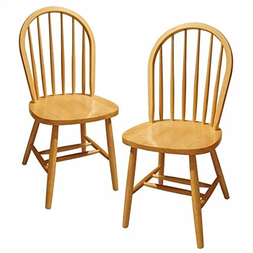 Winsome Wood Windsor Chair, Natural, Set of 2 (Cheap Sets Kitchen Tables)