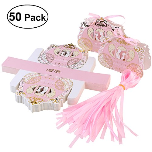 UEETEK 50pcs Carriage Design Candy Boxes Sweets Packaging Favours Gift Boxes for Wedding Party (Sweet Box Candy)