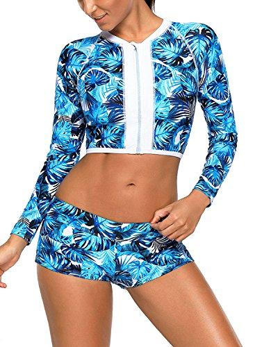 CHARMCZ 2 Pcs Women's Swimsuit Rash Guard Long Sleeve Tankini UV Sun Protection Athletic Cover - 2 Piece Athletic Swimwear