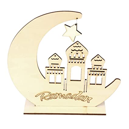 Wooden Eid Mubarak Ramadan Decoration Moon Star Islam Mosque Muslim Pendant