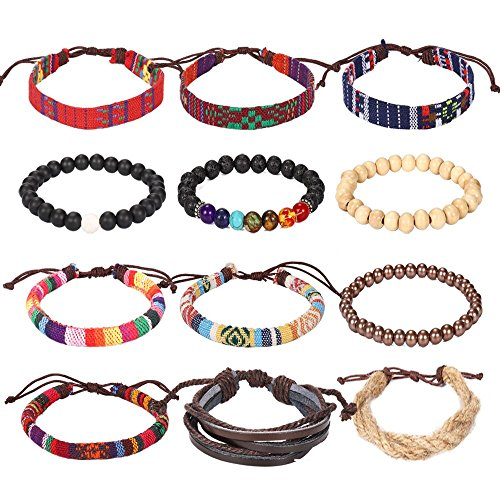 3UMeter Ethnic Tribal Bead Leather Bracelet - 12