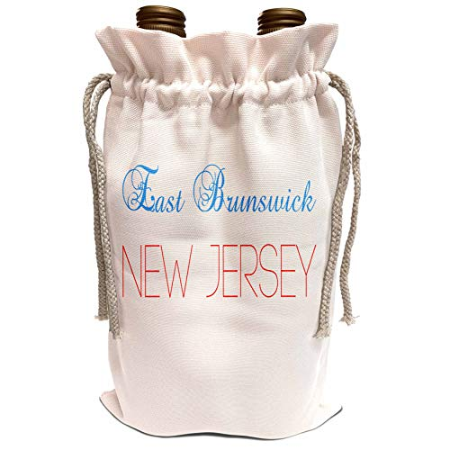 3dRose Alexis Design - American Cities New Jersey - East Brunswick, New Jersey text. Patriotic home town design - Wine Bag ()