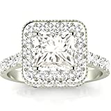 Image of 1.7 Cttw 14K White Gold Princess Cut Contemporary Yet Milgrain Vintage Designer Halo Diamond Engagement Ring with a 1 Carat I-J Color SI2-I1 Clarity Center