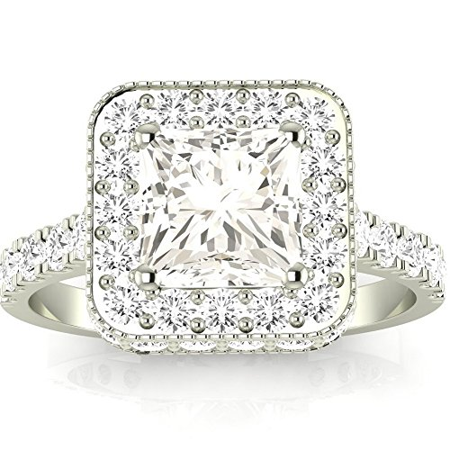 1.7 Cttw 14K White Gold Princess Cut Contemporary Yet Milgrain Vintage Designer Halo Diamond Engagement Ring with a 1 Carat I-J Color SI2-I1 Clarity Center Image