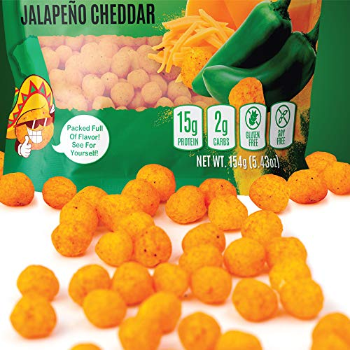 Snack House High Protein Low Carb Keto Snacks, Gluten Free Healthy Protein Puffs - No Sugar Added, Savory Diet Food for Adults and Kids, Jalapeño Cheddar, 7 Servings 3