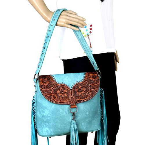 Striking Carry amp; Turquoise Leather Concealed Ranch w Fringe Trinity Tooling Hobo a4raxqU