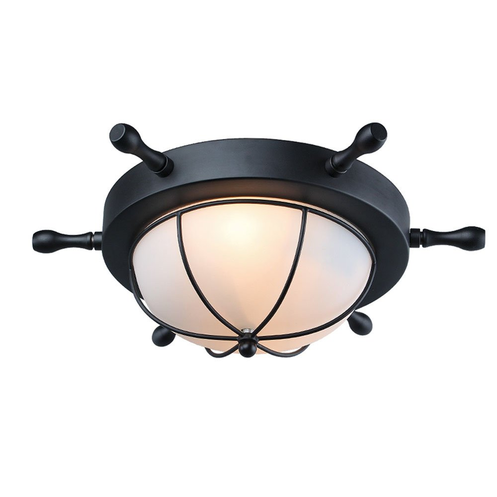 Baiwaiz Flush Mount Ceiling Light, 2-Light Metal Rudder Antique Ceiling Light Fixture with White Dome Frosted Glass Shade Vintage Ceiling Lamp for Kids Bedroom Black finish Edison E26 BW17021