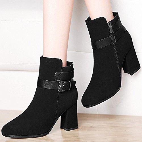 Heeled Mujer Negra De Negrita Botas Y 34 34 Zapatos High Botines La Mujer Zapatos De Heeled AJUNR Moda Zapatos High De Con Joven Marea Punta Botas Hembra AnPg0xa