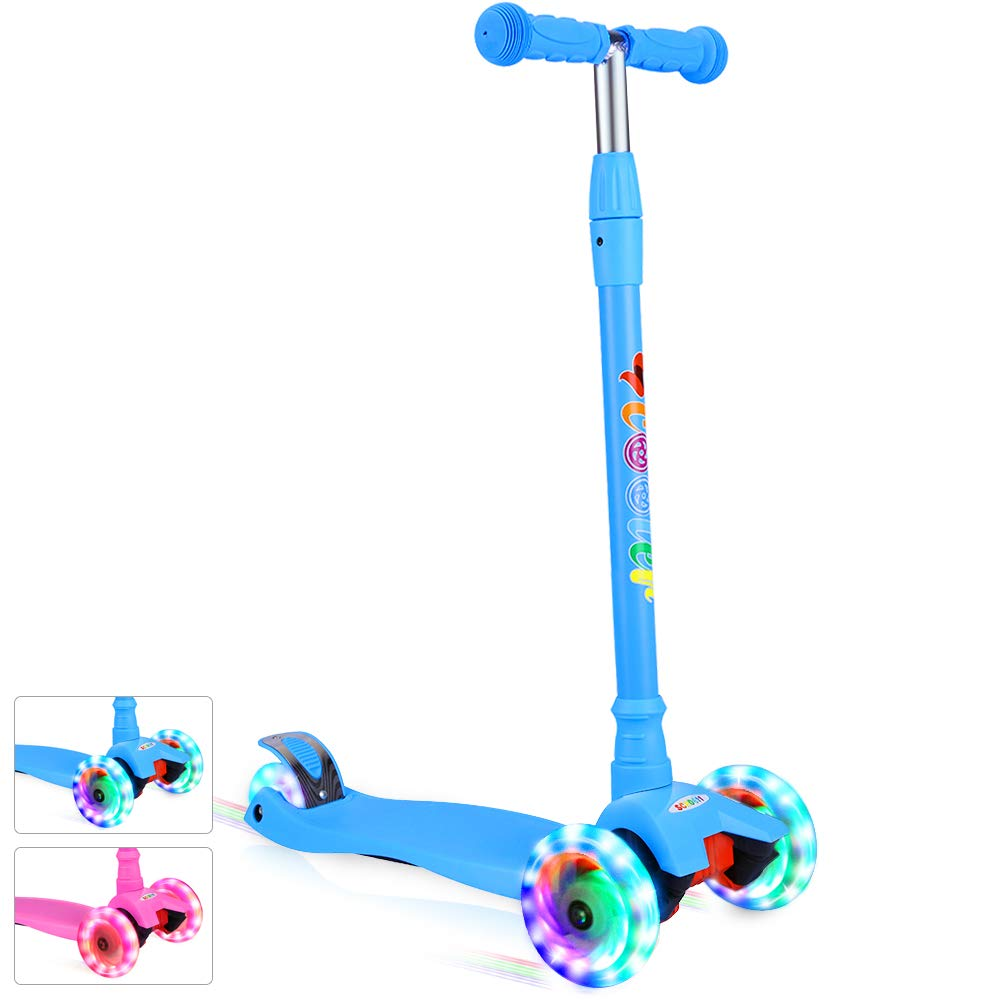 BELEEV Kick Scooter for Kids 3 Wheel Scooter for Toddlers Girls & Boys, 4 Adjustable Height, Lean to Steer with PU LED Light Up Wheels for Children from 3 to 14 Years Old (Sky Blue)