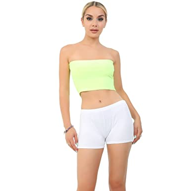 dc627daf19 Crazy Chick Women s Plain Yellow Strapless Stretch Vest Bra Crop Top Ladies  Bandeau Boob Tube UK
