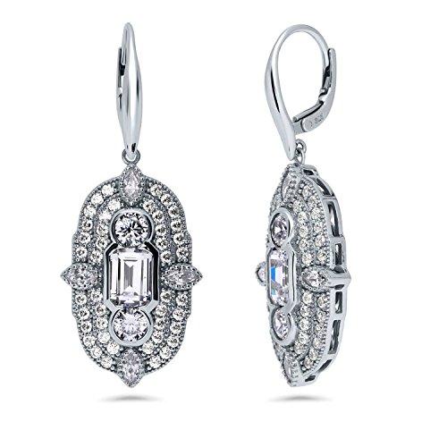 BERRICLE Rhodium Plated Sterling Silver Cubic Zirconia CZ Statement Art Deco Milgrain Leverback Wedding Dangle Drop Earrings ()