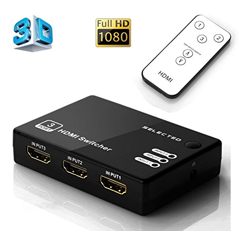 Musou 3 Port High Speed HDMI Switch 3x1 V1.3 Certified with IR Wireless Remote and AC Power Adapter - Supports 3D, 1080P