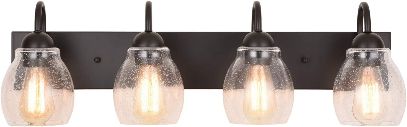 "ALICE HOUSE 28.7"" Vanity Lights with Seeded Glass,4 Light Wall Sconce Lighting, Brown Farmhouse Bathroom Lights Over Mirror, Industrial Bathroom Lighting AL9081-W4"