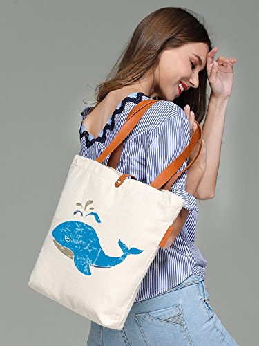 So'each Women's Marine Animal Whale Top Handle Canvas Tote Shoulder Bag