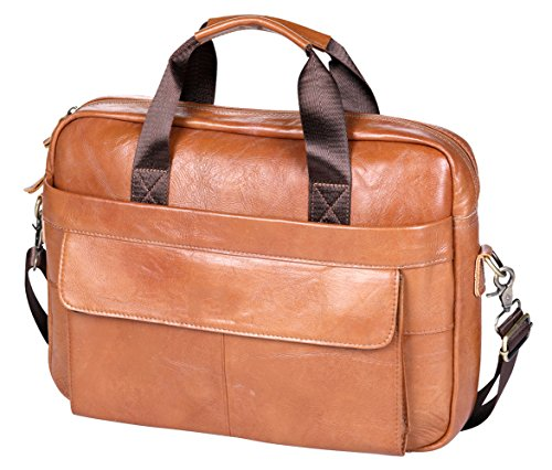 VIDNEG Handmade Briefcase Top Grain Leather Laptop Bag Messenger Shoulder Bag for Business Office 15 inch Macbook (CP-Light Brown) by VIDENG (Image #7)