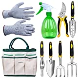 LANBOZITA Garden Tools, 7-9 Piece Gardening Tools Set Including Trowel, Transplanter, Cultivator, Pruner, Weeder, Weeding Fork, Canavas Tote, Sprayer Bottle and Gloves