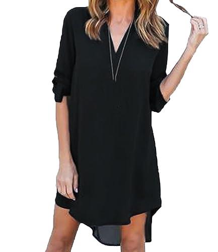 Scothen Mini camisa de gasa vestido de manga larga con cuello en V vestido de camisa casual mini ves...