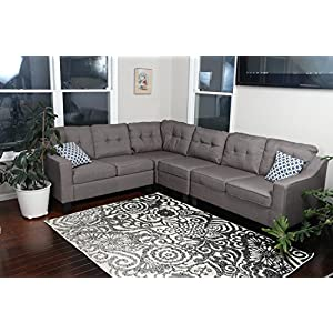 """Oliver Smith - Large Brownish Grey Linen Cloth Modern Contemporary Upholstered Quality Sectional Left or Right Adjustable Sectional 106"""" x 82.5"""" x 34"""""""