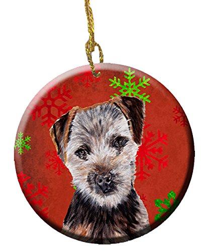 (Caroline's Treasures SC9759CO1 Norfolk Terrier Puppy Red Snowflakes Holiday Ceramic Ornament, 3 in, Multicolor)