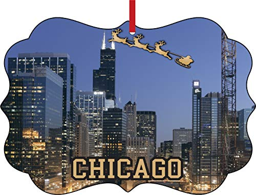- Lea Elliot Inc. Santa Klaus and Sleigh Riding Over The (Sears) Willis Tower Chicago Illinois Elegant Aluminum Semigloss Christmas Ornament Tree Decoration - Unique Modern Novelty Tree Décor Favors
