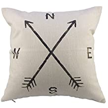 "Decorhome Retro Cotton Linen Square Vintage Throw Pillow Case Shell Decorative Cushion Cover Pillowcase Compass 18 ""X18 """