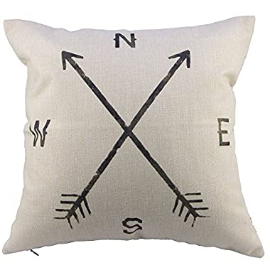 Decorbox Compass Arrow Cotton Linen Square Decorative Throw Pillow Case Cushion Cover 18 x 18''