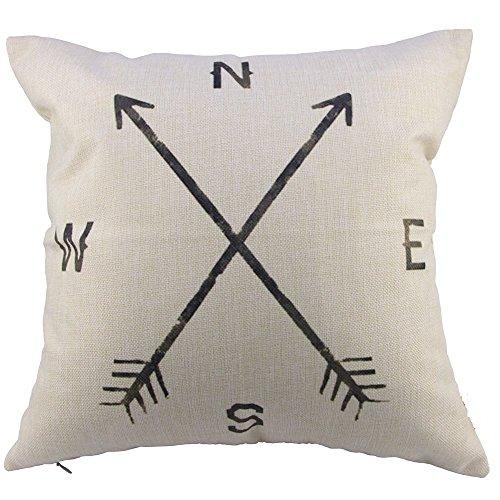 "Decorhome Retro Cotton Linen Square Vintage Throw Pillow Case Shell Decorative Cushion Cover Pillowcase Compass 18 ""X18 """