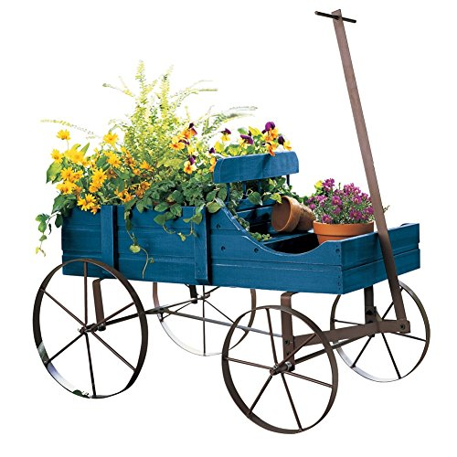 Collections Etc Amish Wagon Decorative Indoor/Outdoor Garden Backyard Planter, Blue