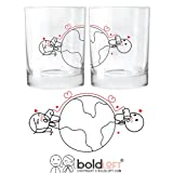 BOLDLOFT Love Has No Distance His and Hers Glasses Long Distance Relationships Gifts, Long Distance Gifts for Him for Her, Long Distance Gifts for Couples, Anniversary, Birthday, Boyfriend, Girlfriend