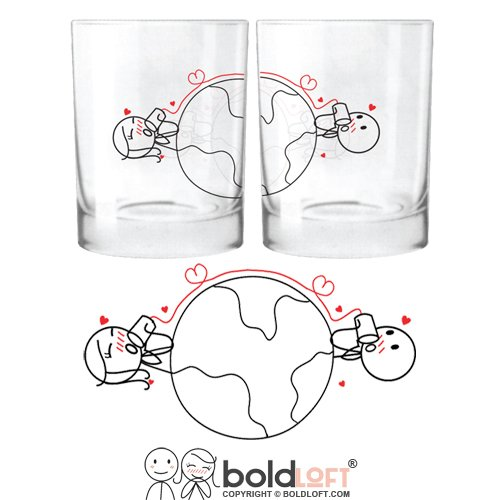 BOLDLOFT Love Has No Distance His and Hers Glasses-Long Distance Relationships Gifts,Christmas Gifts for Him or Her,Long Distance Gifts for Couples,Christmas Gifts for Couples,Gifts for Him for Her (Special Gift For Him On Valentine Day)