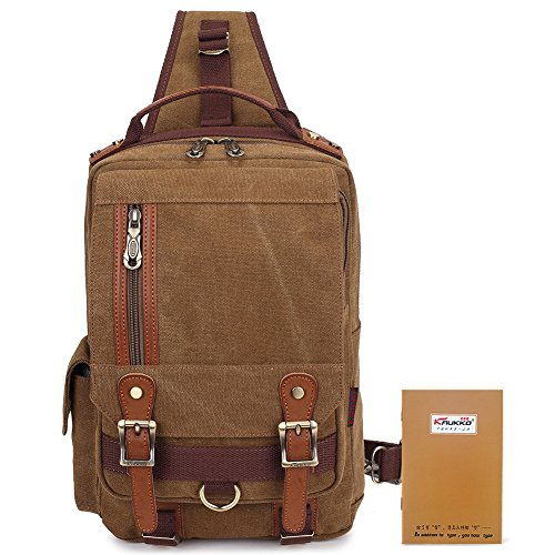 KAUKKO Stylish Canvas Leather Cross Body Messenger Bag Shoulder Bags Rucksack Khaki