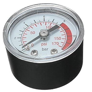 0 - 170 PSI 0 ~ 12 bar negro plástico redondo Shell manómetro de presión compresor de aire: Amazon.es: Electrónica