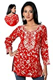 Red Long Sleeves Cotton Tunic with All Over Embroidered Design (XL)