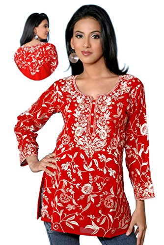 Red Long Sleeves Cotton Tunic with All Over Embroidered Design (XL) by Jayayamala