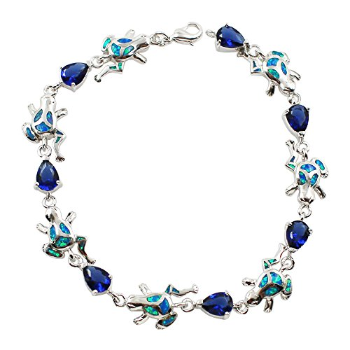 Sinlifu Silver Plated Stylish Charming Link Bracelet with Opal or Crystal Design for Women or Girls … (Blue Opal Frog) - Charming Links
