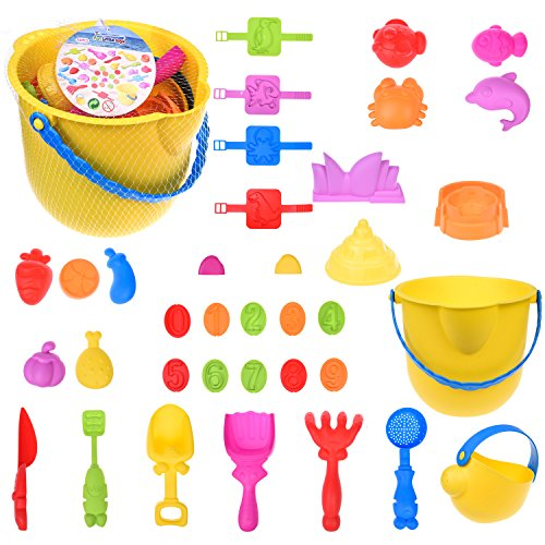 Summer Beach Colorful Play Set Sand Play Tools Includes Sea Creatures, Watch, Stamp, Architecture Molds with Shovels, Rakes, and Knif, Packaged with a Yellow Bucket 36 pcs