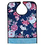 Tinksky Adult Mealtime Protector Waterproof Pocket Bib Disability Aid Apron with Crumb Catcher (Hibiscus)