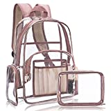 NiceEbag Clear Backpack for Women Fit 15.6 inch Laptop School Backpack for Student Cute College Bookbag for Kids Girls Boys PVC Heavy Duty Daypack with Small Bag for Travel Work Gym Hiking,Rose Gold