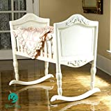 Green Frog, Antique White Cradle | Handcrafted