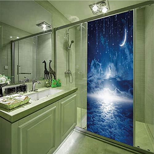 LIANDAYUNS sticker Decorative Privacy Glass Film,Night Sky,Nocturnal Sky Full Moon Clouds Star Rain Crescent Lunar Image,Dark Blue Light Blue and White,35.43
