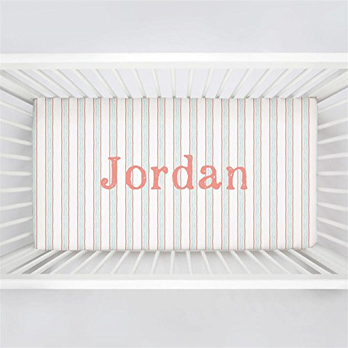 Carousel Designs Personalized Custom Light Coral and Mist Beach Stripe Crib Sheet Jordan Idea - Organic 100% Cotton Fitted Crib Sheet - Made in The USA (Best Beaches In Jordan)